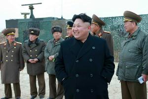 Kim Jong-un at rocket launching drill